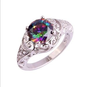 Jewelry - 2 Left! Gorgeous Sterling Silver Rainbow Ring
